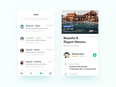 Real Estate App UI Design - Inbox & Property Details app social navigation ecommerce flat reviews real estate dashboard home android ios