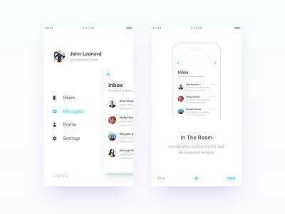 In The Room - Side Menu & Onboarding app social navigation profile walkthrough onboarding side menu list android ios