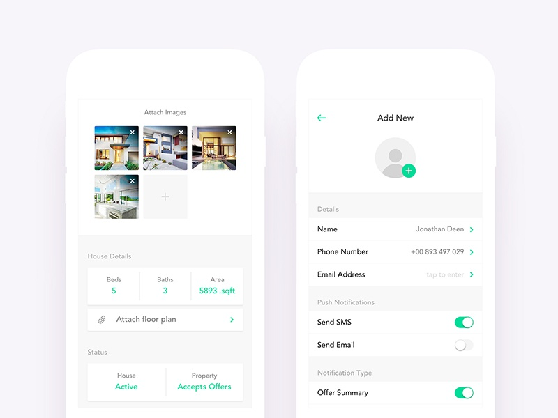 Real Estate App UI Design - Add Listing & New Person by