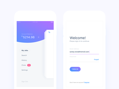 Side Menu & Log In Screens  app social navigation ecommerce search chats job login sidemenu android ios