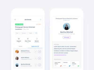 Job Applicants & Application Details Views app social navigation ecommerce requests details candidate application job android ios