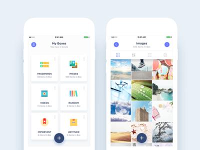 Boxes (Folders) & Single Box (Folder) Views app productivity utility media security storage folder home encryption android ios