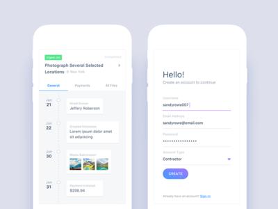 Completed Job Timeline & Sign Up app social navigation ecommerce details search job sign up timeline android ios