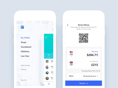 Fonewire App UI Design app social navigation ecommerce minimal side menu details payment bank android ios