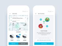 Taxi App - Vehicle Type & Invite Friends Screens