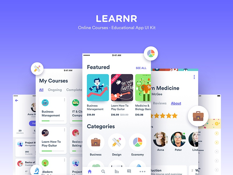 Learnr - Online Courses UI Kit template creative market ui8 educational theme kit ux ui android ios