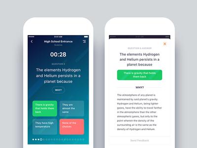 Exam App Redesign game quize iphone design ux ui app educational exam android ios