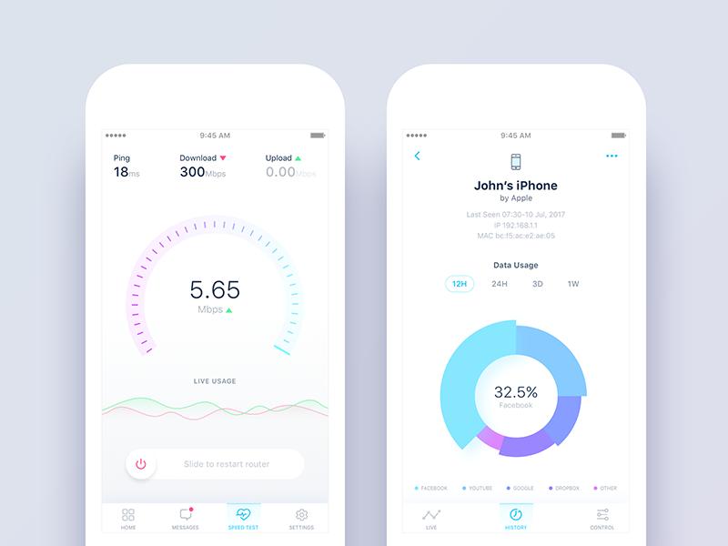 Netonomy App Redesign - Speed Test & History Views