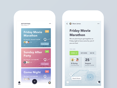 Relay - Event/Activity Planning App Redesign social details home activity design redesign ux ui app event android ios