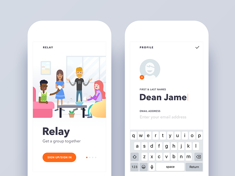 Relay - Event/Activity Planning App Redesign social create profile onboarding design redesign ux ui app event android ios