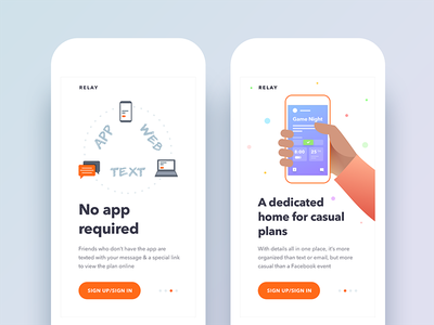 Relay - Event/Activity Planning App Redesign social compose create onboarding design redesign ux ui app event android ios