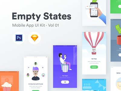 Empty States - Vol 01 ios app user interface flat android iphone illustrations icon graphic gui kit ui