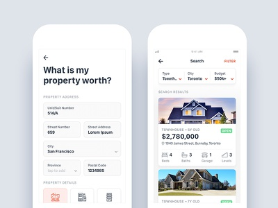 Real Estate App - Property Search and Estimation ux ui iphone details search offer listing sell property real estate android ios
