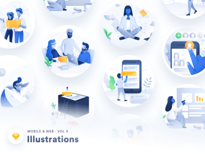 Illustration Pack - Vol 03 sketch app user interface ui android iphone mobile website empty state error artwork design illustration