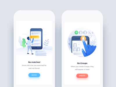 Illustration Pack - Vol 03 - Usage Examples ui kit sketch app user interface android iphone mobile website empty state error state artwork design illustration