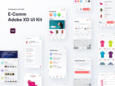 E-Comm Adobe XD UI Kit adobe android iphone freebie free ui kit ecommerce ui kit adobe xd