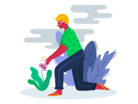 Colourful & Fun Illustrations - Planting
