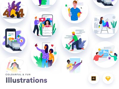 Colourful & Fun Illustrations design artwork printing presentation web mobile sketchapp handdrawn adobe illustrator vector illustration vector