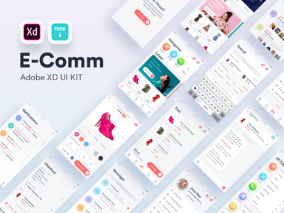 E-Comm Free Adobe XD UI Kit free product commercial cart adobexd home chat search profile social ecommerce design iphone ux ui android app ios