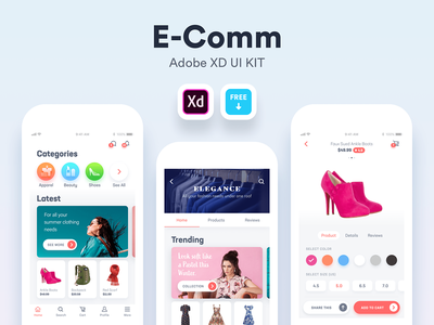 E Comm - Free Adobe XD UI Kit navigation ecommerce social design iphone ux ui android app ios