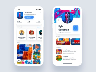 Profile Views profile minimal social design iphone ui ux android app ios