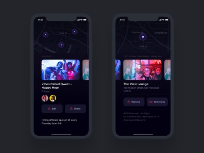 Collection Details & Collected Venues map details dark ui location search profile navigation ecommerce iphone design ux ui android app ios