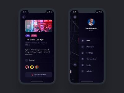 Venue Details & Side Menu entertainment map dark ui profile details sidemenu navigation social ecommerce design iphone ux ui android app ios
