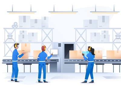 Manufacturing ecommerce social iphone android ios art direction art header website workers factory manufacturing illustration sketch illustrator artwork
