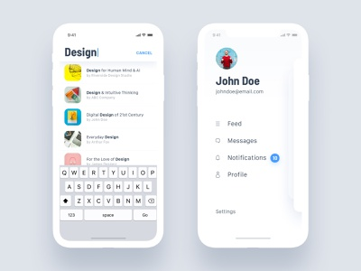 Search & Side Menu search bar navigation mobile light sidemenu search profile ecommerce social design iphone ui ux android app ios