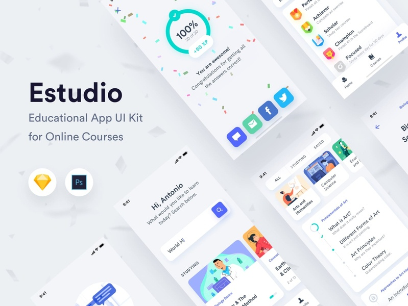 Estudio - Educational Mobile App UI Kit learning app study student creative market ui8 ui kit light theme dark theme learning online courses educational education ecommerce design iphone ux ui android app ios