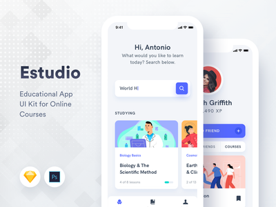 Estudio Educational Mobile App UI Kit search home mobile student study online courses learn education profile illustration design iphone ux ui android app ios
