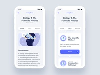Lesson View - Estudio Educational Mobile App UI Kit studying quiz test exam science learn educational education study lesson profile illustration ecommerce design iphone ux ui android app ios