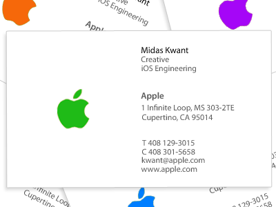 Apple business card by midas kwant dribbble applebusinesscard colourmoves