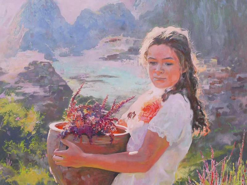 Kate portraits portrait art painting drawing nature beauty girl river mountains flowers flower