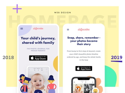 Updating the Lifecake homepage, 2019 responsive design ux web design iphone x iphone clean digital design ios app mobile ui