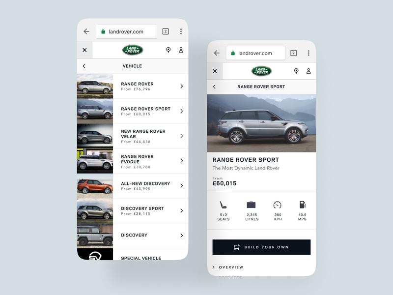 Jaguar Land Rover rwd design web design clean iphone x digital design ios mobile ux ui jlr jaguar land rover jaguar land rover land rover jaguar