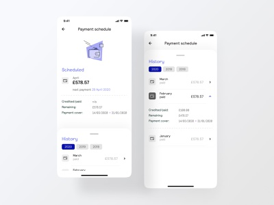 Payment schedule banking app bank vector illustration iphone iphone x ios ui mobile app payment app