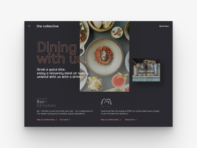 Dinning with us | The Collective design digital design restaurant food dining menu webdesign website