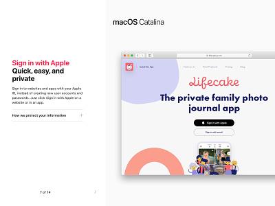 macOS Catalina - Lifecake digital design app ui mobile app design apps tour sign in with apple apple sign in sign in catalina iphone ios apple design apple macos