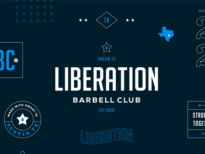 Unchosen Brand Direction for Liberation Barbell Club sweat austin texas weightlifting gym branding badge logo logo brand brand identity