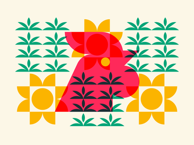 Rooster Pattern bright rooster plant sun multiply brand identity design brand identity vector flat minimal logo branding illustration