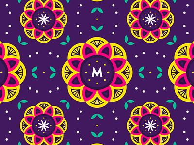 Busy Brand Pattern for Mooli purple mandala takeout indian brand lotus flower flower pattern brand pattern brand identity design branding brand