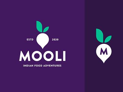 More Mooli Logo Elements geometric vegetable radish purple logo indian takeout indian food brand elements logo brand identity design brand identity brand