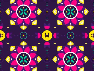 Another Mooli Pattern purple lotus flower indian mandala bright pattern brand identity logo brand identity design branding illustration