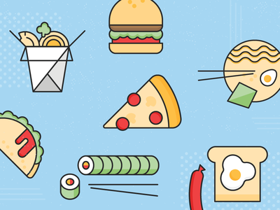 Food Icon Illustrations textured blue taco egg toast sushi pizza ramen burger chinese takeout icons food cute vector flat illustration
