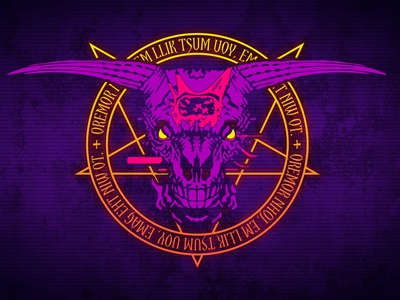 NEON Icon of Sin - Doom II desktop wallpaper desktop demon slayer retrowave synthwave rip and tear final boss vector gaming neon outrun doomguy doom