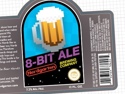 8-Bit Ale label beer ale package design videogames nintendo