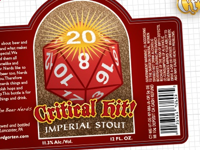 Critical Hit Imperial Stout label beer stout package design dungeons and dragons d20