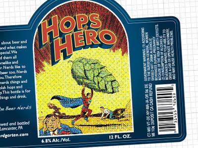 Hops Hero label beer package design comic books superman