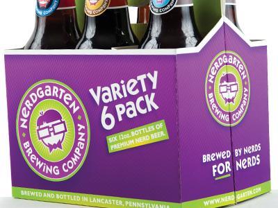 Nerdgarten Variety 6 Pack label beer package design nerd six pack